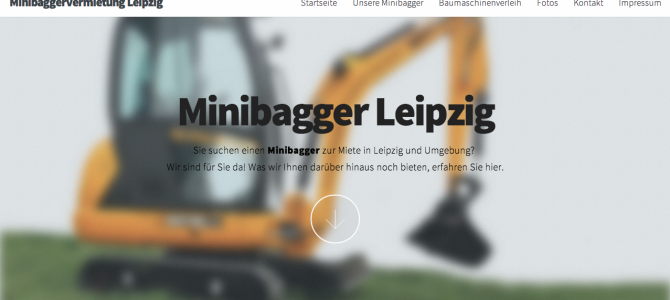 Website für Minibaggerverleih Leipzig
